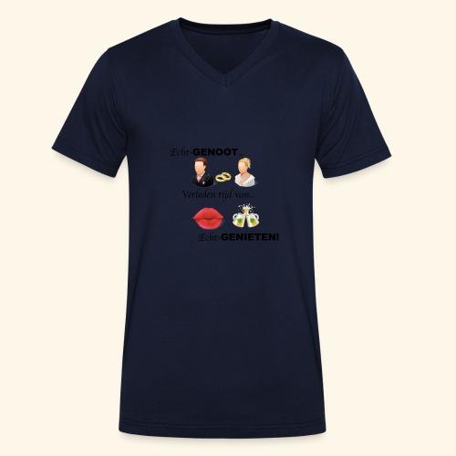 Echt-genoot, verleden tijd van ECHT-GENIETEN - Mannen bio T-shirt met V-hals van Stanley & Stella