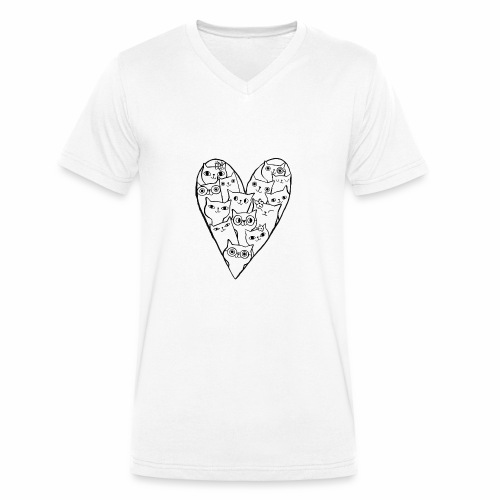I Love Cats - Men's Organic V-Neck T-Shirt by Stanley & Stella