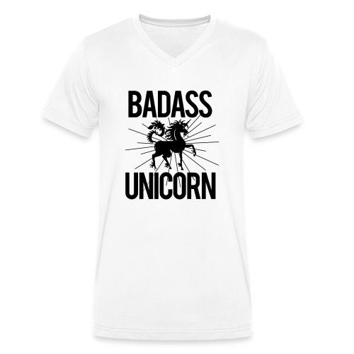 Badass Unicorn - Men's Organic V-Neck T-Shirt by Stanley & Stella