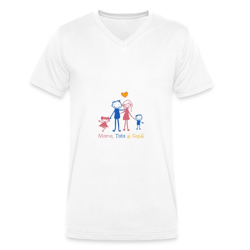 mama tata si copiii - Men's Organic V-Neck T-Shirt by Stanley & Stella