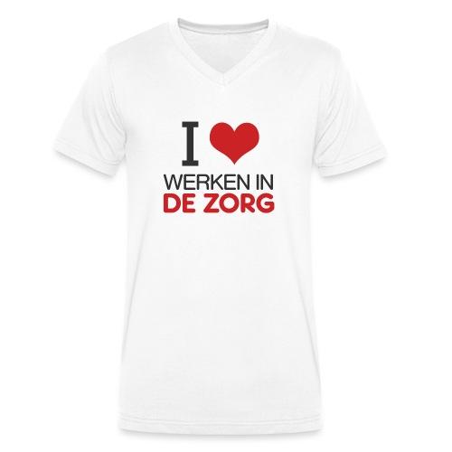 I LOVE Werken in de zorg - Mannen bio T-shirt met V-hals van Stanley & Stella