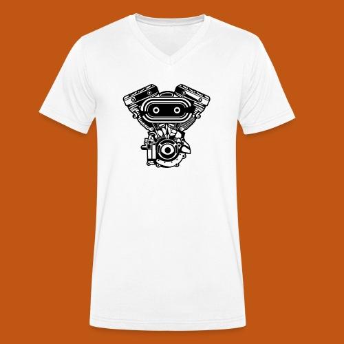 Motorrad Motor / Engine 02_schwarz - Männer Bio-T-Shirt mit V-Ausschnitt von Stanley & Stella