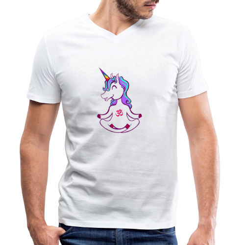 Unicorn meditation - Men's Organic V-Neck T-Shirt by Stanley & Stella