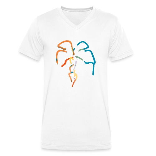 Farverig palme - Økologisk Stanley & Stella T-shirt med V-udskæring til herrer