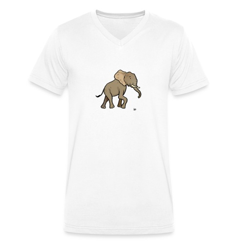 African Elephant - Men's Organic V-Neck T-Shirt by Stanley & Stella