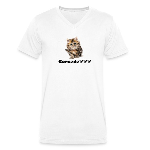 Concede kitty - Økologisk T-skjorte med V-hals for menn fra Stanley & Stella
