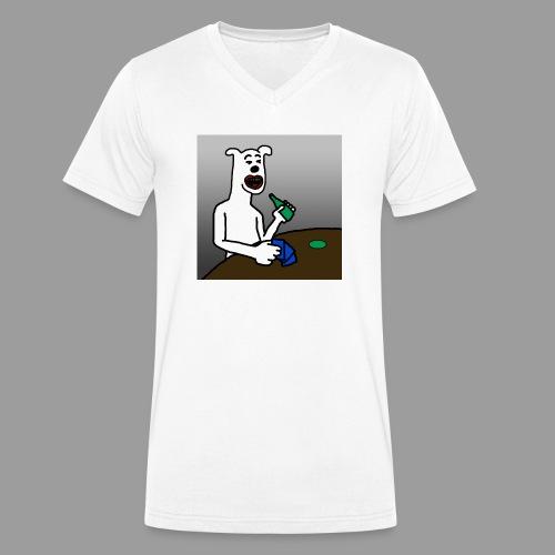PoopyPoops in het cafe - Mannen bio T-shirt met V-hals van Stanley & Stella