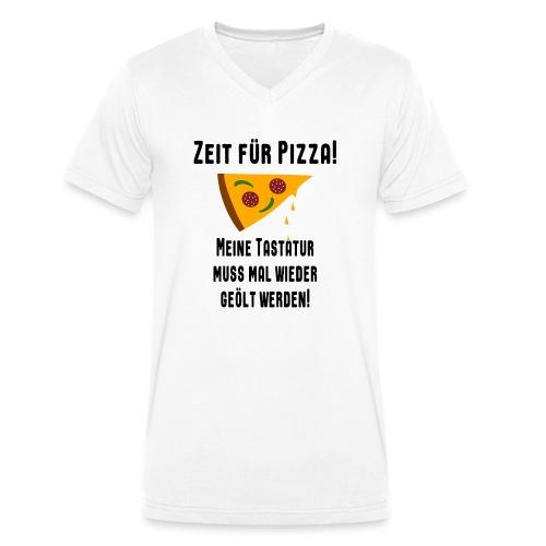 Pizza Essen Tastatur Computer Freak Nerd Spruch - Männer Bio-T-Shirt mit V-Ausschnitt von Stanley & Stella