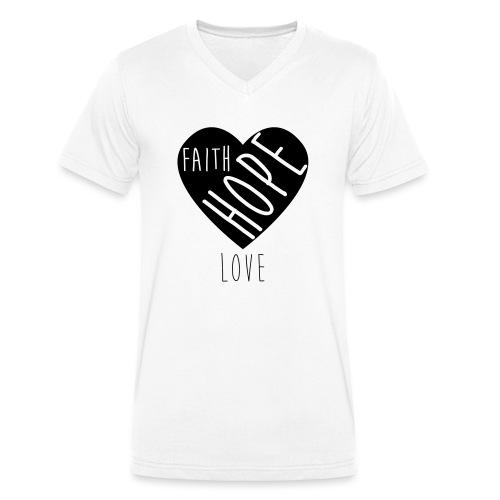 Faith Hope Love - Heart - Männer Bio-T-Shirt mit V-Ausschnitt von Stanley & Stella