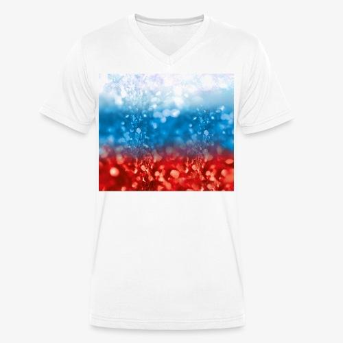 05 Russland Flagge Fahne Glitzer Russia - Männer Bio-T-Shirt mit V-Ausschnitt von Stanley & Stella