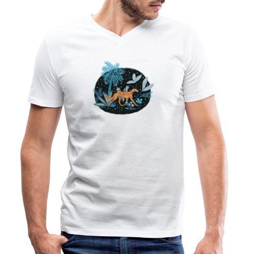 Saluki im Tropenwald - Männer Bio-T-Shirt mit V-Ausschnitt von Stanley & Stella