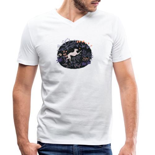 Windhund im Traumwald - Männer Bio-T-Shirt mit V-Ausschnitt von Stanley & Stella