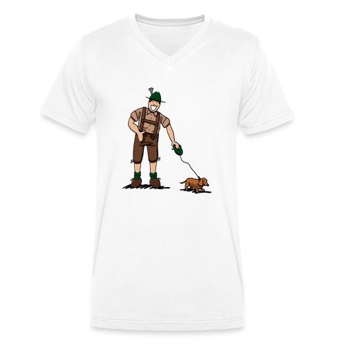 Bayer in Lederhosen mit Dackel - Männer Bio-T-Shirt mit V-Ausschnitt von Stanley & Stella