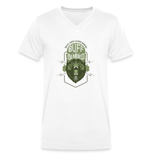 HVYW8 Buff and Bear-ded - Men's Organic V-Neck T-Shirt by Stanley & Stella