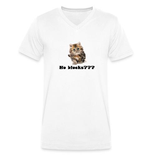 No block kitten - Økologisk T-skjorte med V-hals for menn fra Stanley & Stella