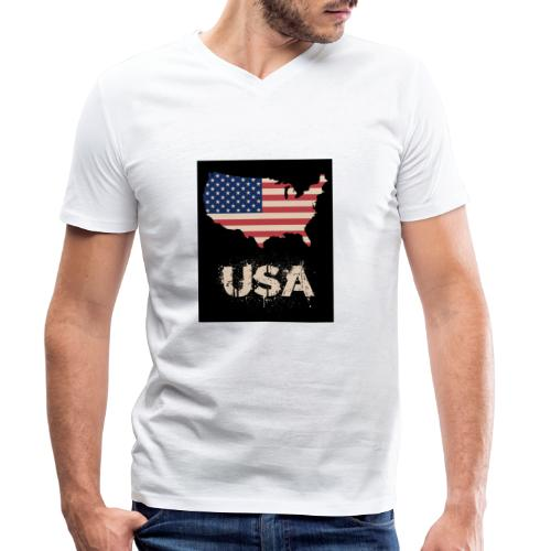 USA FLAG 4th of July With Flag - Ekologisk T-shirt med V-ringning herr från Stanley & Stella