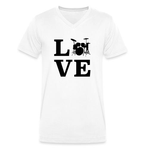 I Love Drums / Schlagzeug T Shirt für Schlagzeuge - Männer Bio-T-Shirt mit V-Ausschnitt von Stanley & Stella