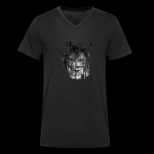 Pixel Lion Tattoo Inspire - Men's Organic V-Neck T-Shirt by Stanley & Stella