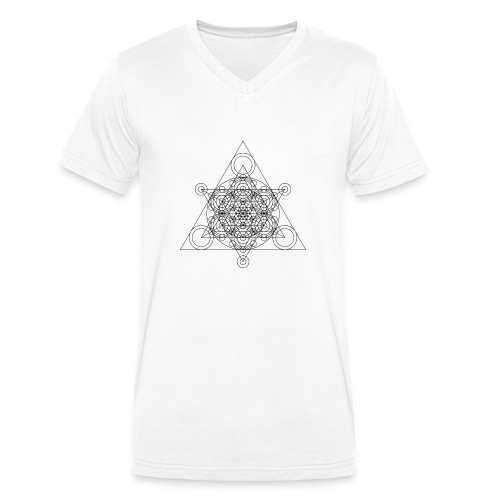 Sacred Geometry Seed, Flower. Tree Black - Men's Organic V-Neck T-Shirt by Stanley & Stella