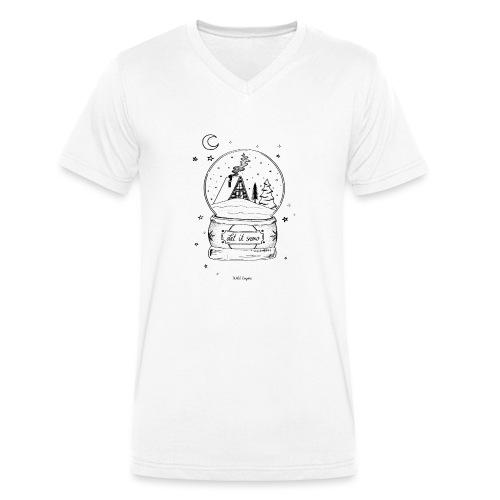 Winter Schnee Bild Kinder Liebe Weihnachten Hütte - Männer Bio-T-Shirt mit V-Ausschnitt von Stanley & Stella