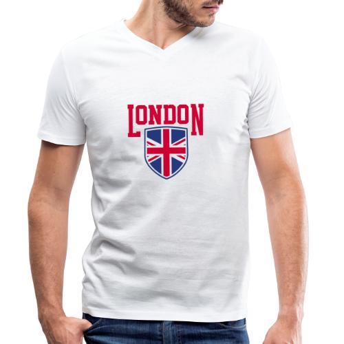London Souvenir - London Wappen Flagge - Männer Bio-T-Shirt mit V-Ausschnitt von Stanley & Stella