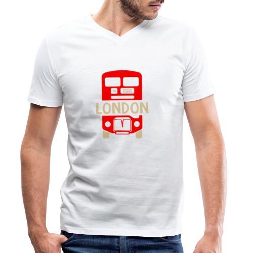 London Bus Roter Doppeldecker London Fan Souvenir - Männer Bio-T-Shirt mit V-Ausschnitt von Stanley & Stella