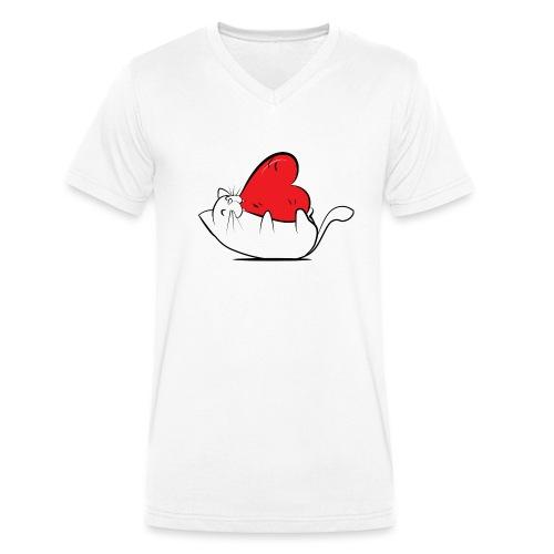 Cat Love - Mannen bio T-shirt met V-hals van Stanley & Stella