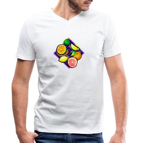 Citrus Pop Art - Männer Bio-T-Shirt mit V-Ausschnitt von Stanley & Stella