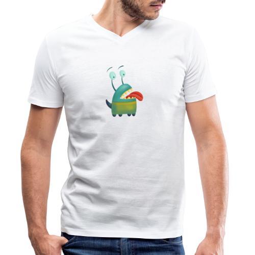 Liebeskrankes Monster, das Zunge heraus streckt - Männer Bio-T-Shirt mit V-Ausschnitt von Stanley & Stella