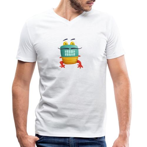 Französisches Froschmonster mit Schnurrbart - Männer Bio-T-Shirt mit V-Ausschnitt von Stanley & Stella