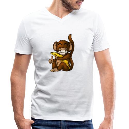 Super Fröhlicher Affe - Männer Bio-T-Shirt mit V-Ausschnitt von Stanley & Stella