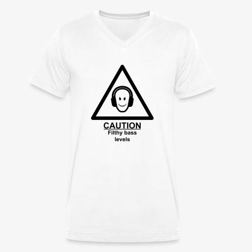 Caution Filthy Bass Logo - Men's Organic V-Neck T-Shirt by Stanley & Stella