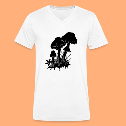 champignons noir et blanc - T-shirt bio col V Stanley & Stella Homme