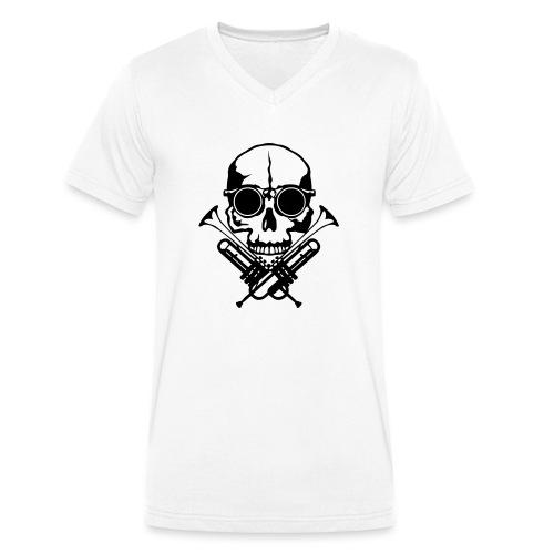 tete de mort skull crane trompette musiq - T-shirt bio col V Stanley & Stella Homme