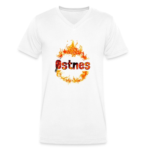 Østnes in flames - Økologisk T-skjorte med V-hals for menn fra Stanley & Stella