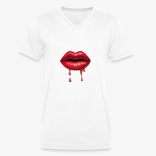 Red ripping Lips - Men's Organic V-Neck T-Shirt by Stanley & Stella
