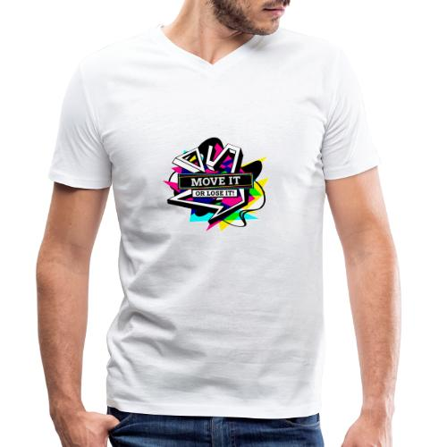 Move It or Lose It - Neon - Økologisk T-skjorte med V-hals for menn fra Stanley & Stella