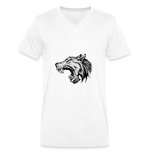 wolves logo 4 - Men's Organic V-Neck T-Shirt by Stanley & Stella