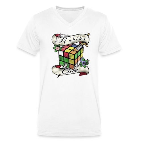 Rubik's Cube Tatoo - Ekologiczna koszulka męska z dekoltem w serek Stanley & Stella