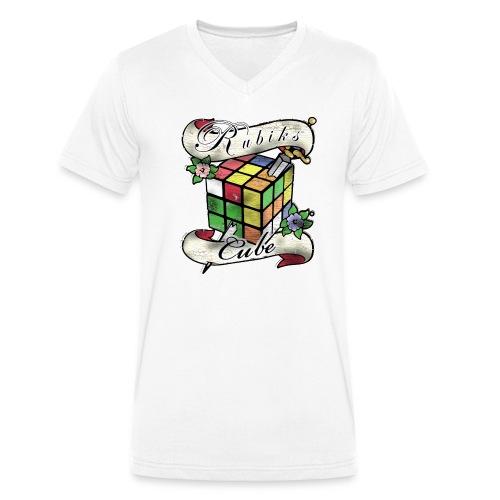 Rubik's Cube Tatoo - Økologisk T-skjorte med V-hals for menn fra Stanley & Stella
