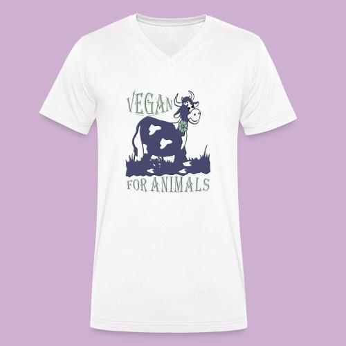 VEGAN FOR ANIMALS - Männer Bio-T-Shirt mit V-Ausschnitt von Stanley & Stella