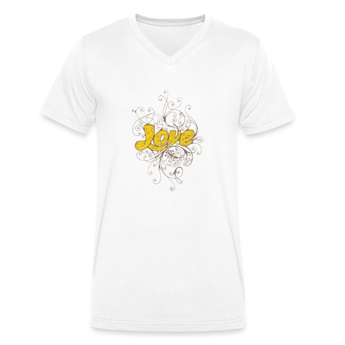 Scritta Love con decorazione - T-shirt ecologica da uomo con scollo a V di Stanley & Stella