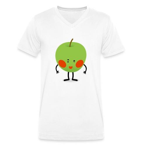 Happy Apfel - Männer Bio-T-Shirt mit V-Ausschnitt von Stanley & Stella