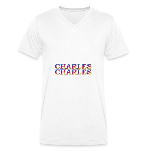 CHARLES rainbow - Men's Organic V-Neck T-Shirt by Stanley & Stella