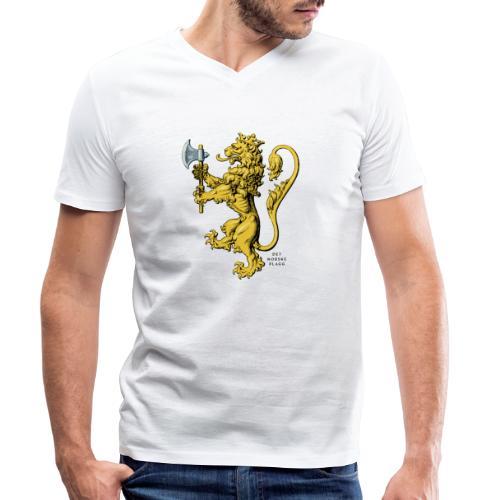 Den norske løve i gammel versjon - Økologisk T-skjorte med V-hals for menn fra Stanley & Stella