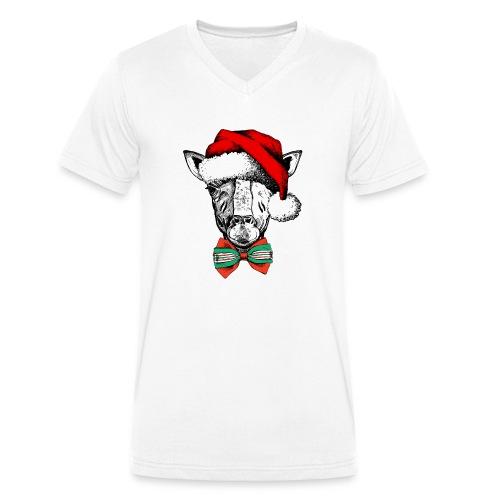 Christmas Giraffe - Men's Organic V-Neck T-Shirt by Stanley & Stella