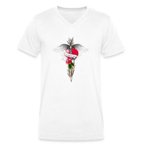 L' Amour - Die Liebe in Flammen - Männer Bio-T-Shirt mit V-Ausschnitt von Stanley & Stella