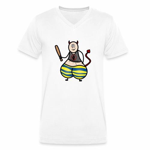 Devil No Touchies Charlie - Men's Organic V-Neck T-Shirt by Stanley & Stella
