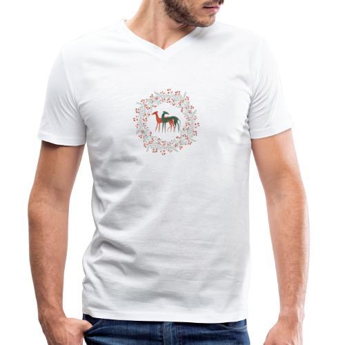 Windhunde im Winterkranz - Männer Bio-T-Shirt mit V-Ausschnitt von Stanley & Stella