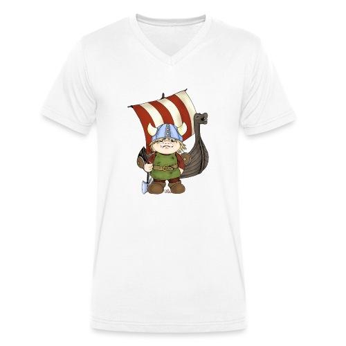 Wikinger Erik mit Schiff - Männer Bio-T-Shirt mit V-Ausschnitt von Stanley & Stella